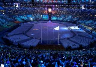 A celestial scene is projected on the floor during the closing ceremony in the Maracana stadium at the 2016 Summer Olympics in Rio de Janeiro, Brazil.