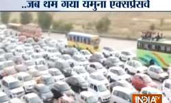 Video: Massive jam on Yamuna Expressway near Matura toll