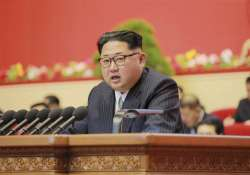 North Korean leader Kim Jong Un addresses the congress on
