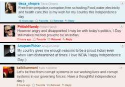 bollywood tweets for corruption free india on i day