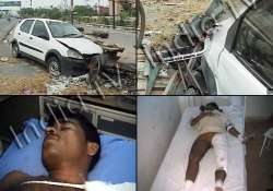 drunk driver runs indica over 10 persons in noida