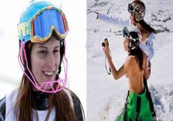 lebanese olympian skier goes topless probe ordered by