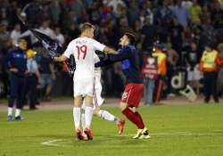 serbia albania match abandoned after crowd trouble