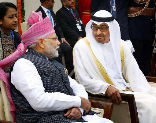PM Narendra Modi with the Chief Guest of the Republic Day, The Crown Prince of Abu Dhabi, Deputy Supreme Commander of U.A.E. Armed Forces, General Sheikh Mohammed Bin Zayed Al Nahyan, at Rajpath, on the occasion of the 68th Republic Day Parade 2017, in New Delhi on January 26, 2017.