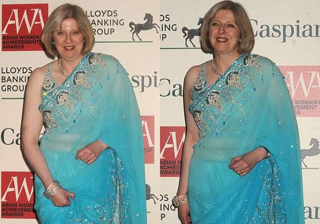 Saree is an outfit every one loves to wear and no doubt the P.M of U.K. proves this by wearing a blue saree. She turned the heads up when she appeared in this Indian outfit.