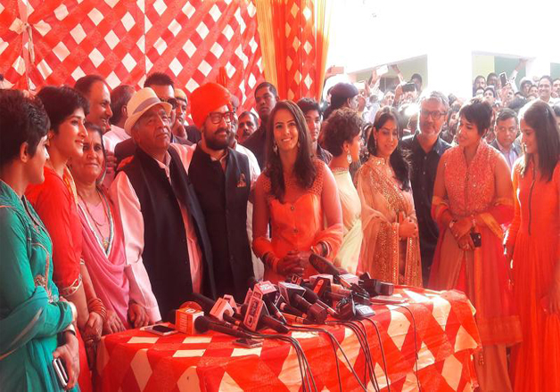 Aamir Khan who is playing the role of Geeta's father Mahavir Singh Phogat in upcoming movie 'Dangal', graced the ceremony at the Balali Village in Haryana.