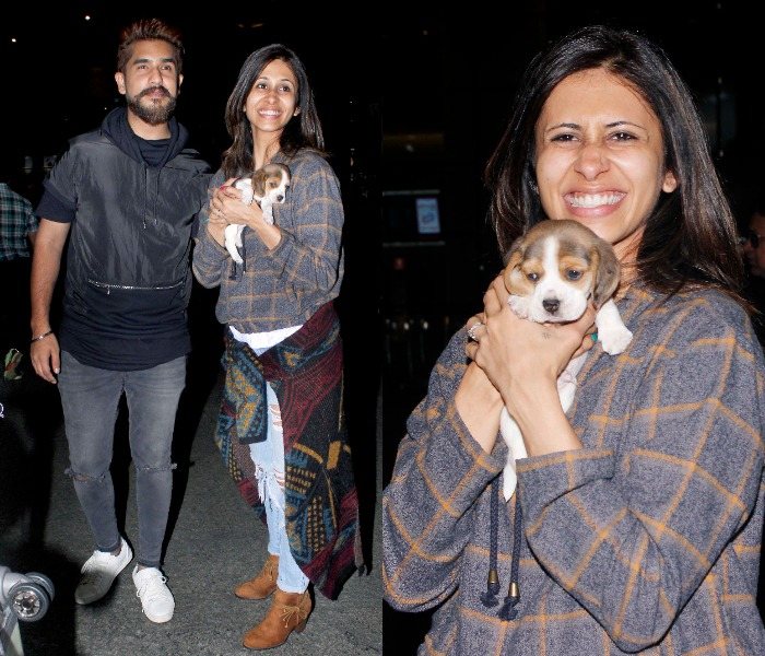 Kishwer Merchant and Suyash with the newest member of their family