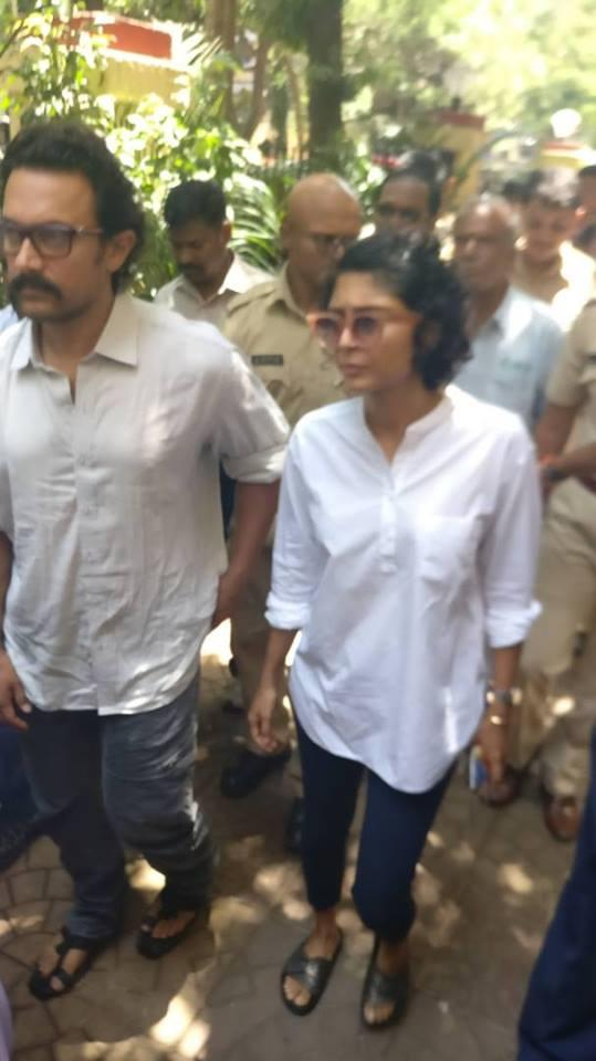 Aamir Khan attended the funeral with wife Kiran Rao