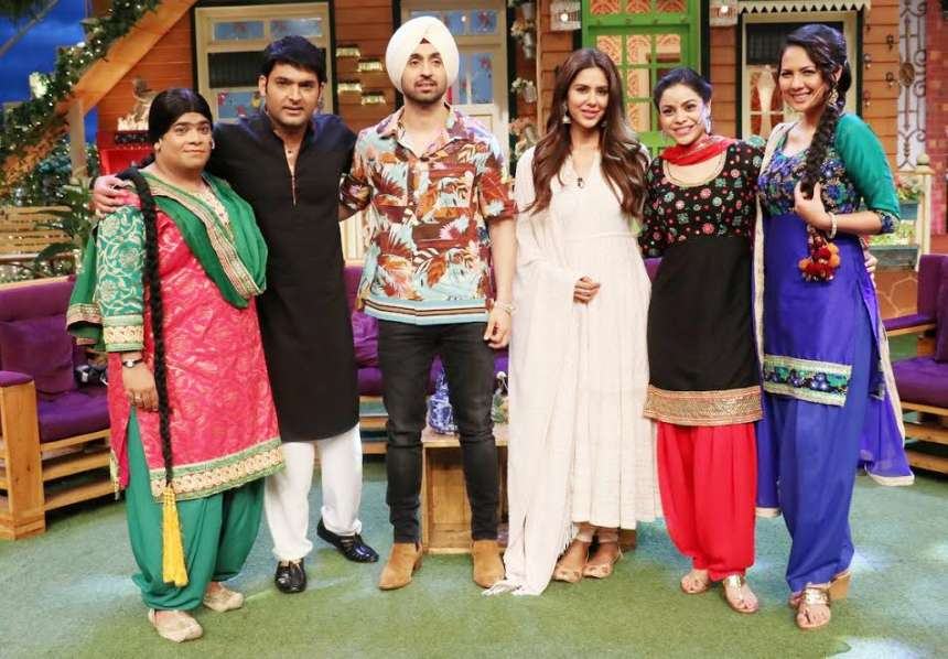Diljit and Sonam Bajwa with the cast and crew of The Kapil Sharma Show