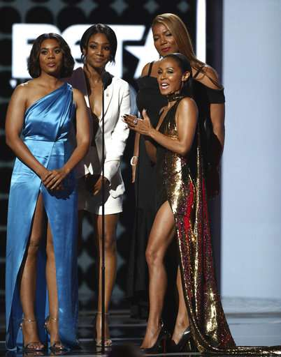 Regina Hall, from left, Tiffany Haddish, Jada Pinkett Smith and Queen Latifah present the lifetime achievement award at the BET Awards at the Microsoft Theater on Sunday.