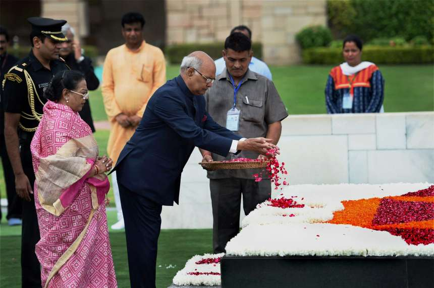 President-elect Ram Nath Kovind with his wife pays floral tributes to Mahatma Gandhi at Rajghat before being sworn in as the 14th President of India