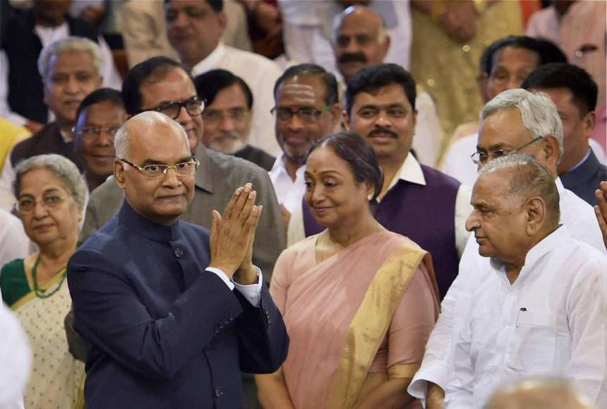President Ram Nath Kovind greeting the dignitaries after taking oath at a special ceremony in the Central Hall of Parliament