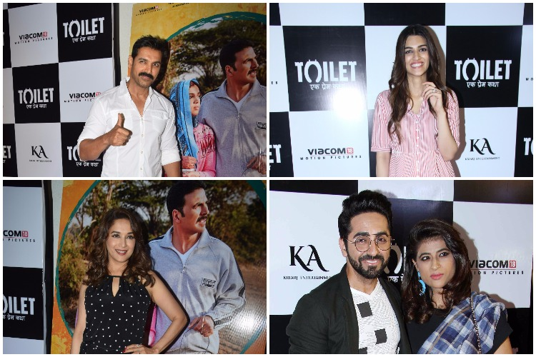 The screening of Toilet Ek Prem Katha turned out to be a starry affair as it was attended by ample number of Bollywood celebrities including Madhuri Dixit, Kriti Sanon, Ayushmann Khurrana and many others.