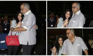 Janhvi Kapoor came back to Mumbai and her father Boney