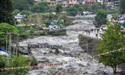 Kullu: A swollen Beas river flows after heavy rains in the