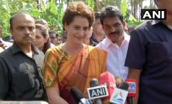 Priyanka Gandhi speaking to reports in Wayanad, Kerala