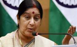 Sushma Swaraj arrived here in the Kyrgyz capital on