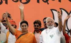 Prime Minister Narendra Modi with MP from Amethi Smriti