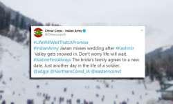 indian army, wedding, snowfall,