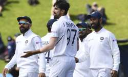 India's Ishant Sharma after dismissing New Zealand's Tim
