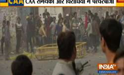 Stones being pelted during anti-CAA protest in Jaffrabad
