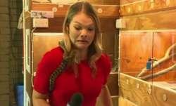 A snake attacked Australian journalist Sarah Cawte's mic