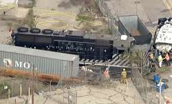 This aerial image taken from video provided by KABC-TV shows a Pacific Harbor Line train that derail
