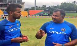 Indian bowling coach Bharat Arun with Hardik Pandya