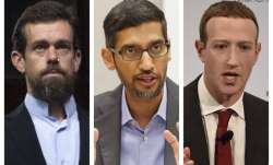 Twitter CEO Jack Dorsey, Google CEO Sundar Pichai, and Facebook CEO Mark Zuckerberg.