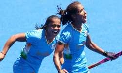 India forward Vandana Katariya (right) celebrates after