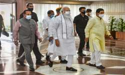 Prime Minister Narendra Modi with Union Ministers arrive to