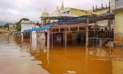 A waterlogged area following heavy monsoon rain in Pushkar