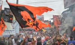 Bajrang Dal members stage a protest against the recent