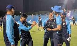 MS Dhoni with Team India coaching staff in Dubai.