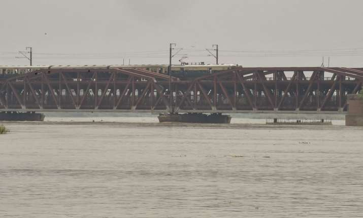 New Delhi: A view of the swollen Yamuna river as its water