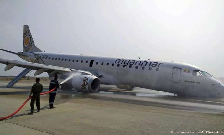 Plane lands without front wheel at Myanmar's airport