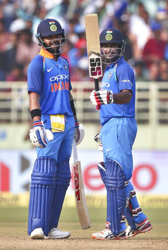Opting to bat, Kohli fired 157 off 129 balls, while Ambati Rayudu, who is seen as the answer to the team's persistent problems at the number four slot by Kohli himself, made a fluent 73 off 80 deliveries.
