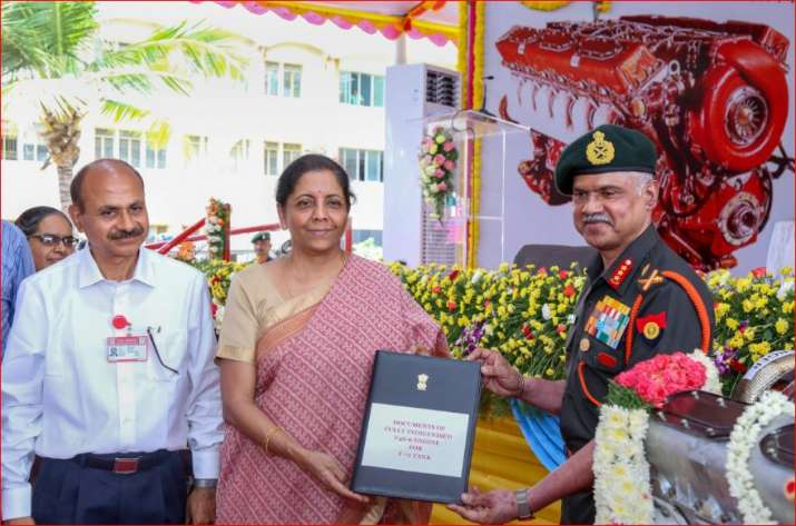 Defence Minister Nirmala Sitharaman hands over two types of