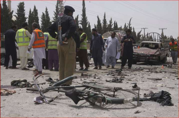 A suicide bomber struck outside a crowded polling station