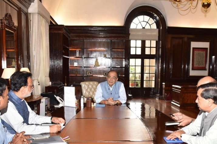FM Arun Jaitley in a meeting at North Block