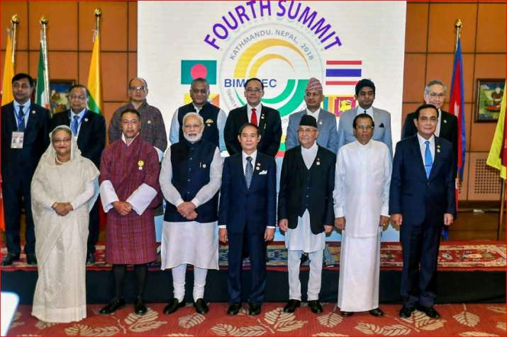 PM Modi and other BIMSTEC leaders in a group photograph during the 4th BIMSTEC Summit, in Kathmandu