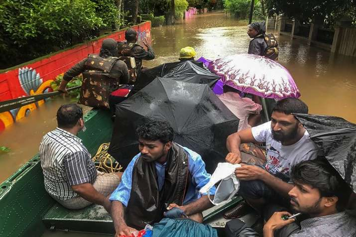 India Army personnel rescue flood affected people in