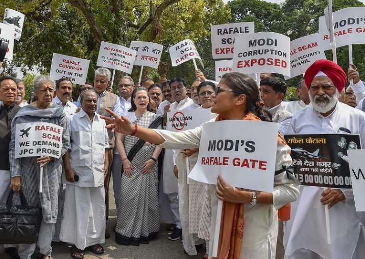 Sonia Gandhi-led opposition holds protest in Parliament