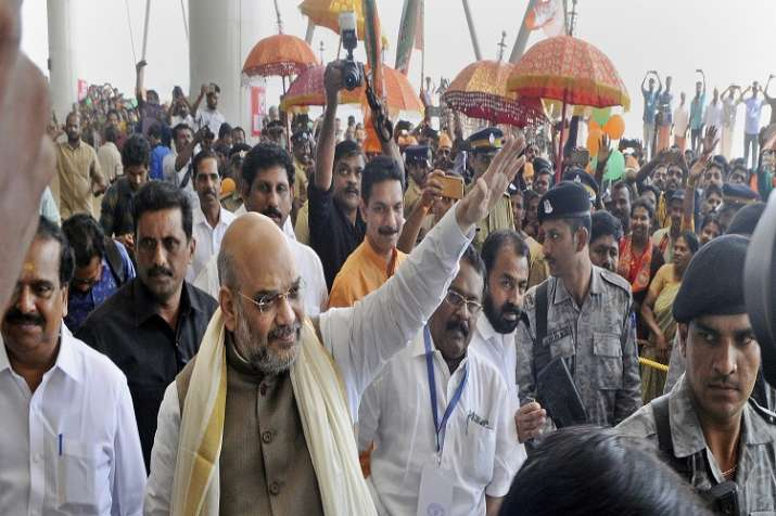 BJP President Amit Shah arrives at the Kannur Airport on