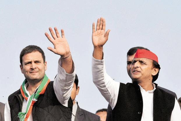 File photo of Rahul Gandhi and Akhilesh Yadav during poll