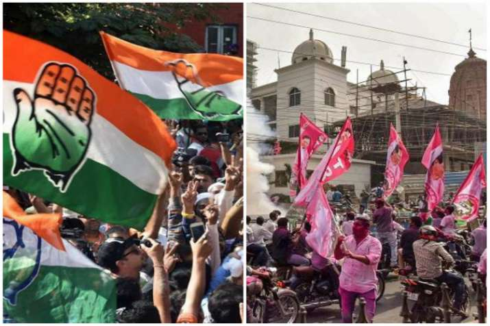 Congress and TRS flags- File Photo