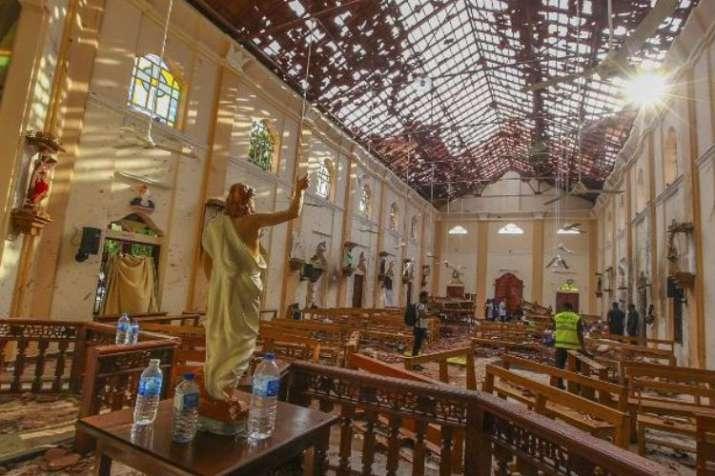 St. Sebastian's Church damaged in the blast in Negombo,