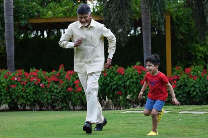 Andhra Pradesh Chief Minister Chandrababu Naidu with his