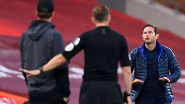 Chelsea manager Frank Lampard engaged in a heated