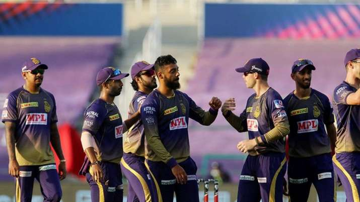 Varun Chakravarthy with his KKR teammates